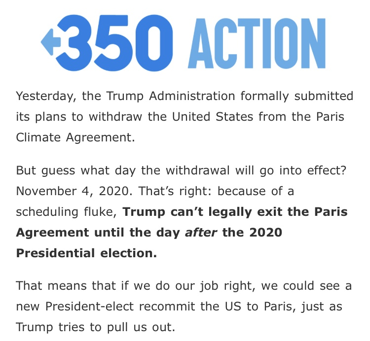 Due to scheduling conflict, Trump is bound to Paris Climate Agreement till AFTER the 2020 Election! </strong>😂